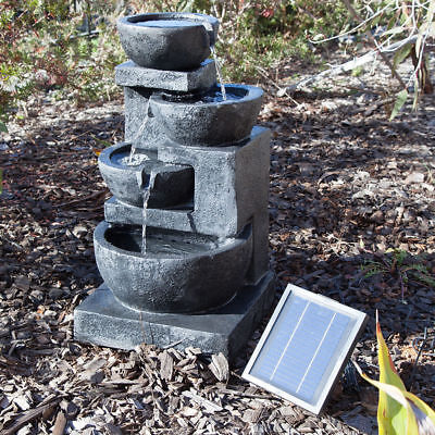4 Tiers Casarding Water Fountain LED Light Garden Outdoor Solar Panel Powered