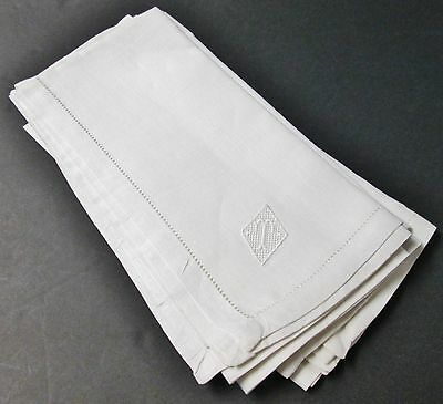 Silky Linen 4 Napkins T Monograms on Net Lace Hemstitched Excellent Condition