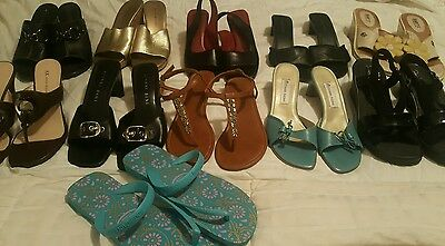 Huge Lot Womens Size 8/8.5 Shoes Sandals Dress Career Wedge, Flats, Heels Slides