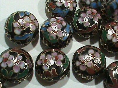 Vintage Cloisonne Black With Color FLowers Pancake Beads 16x8 MM NOS 30 Pcs