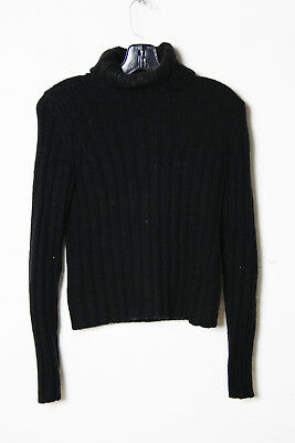 Theory Black Cashmere Turtle Neck Stripes Knitted Sweater Top Size S