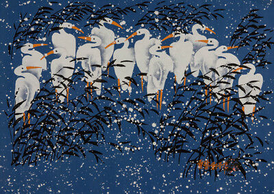 Chinese Contemporary Mixed Media - Stalks in the Snow