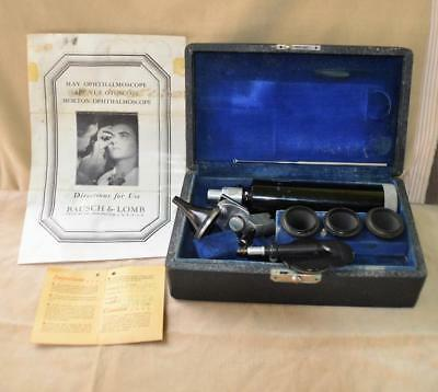 VTG c.1940th May Ophthalmoscope / ARC-VUE Otoscope Bausch & Lomb w/case works