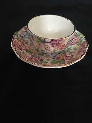 Individual Open Sugar Bowl w/saucer Apple Blossom Pink by Kent, James (England)