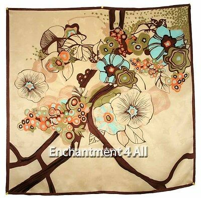 "Large 35""X35"" Brown Art Floral 100% Pure Silk Twill Scarf Wrap Shawl Handmade"