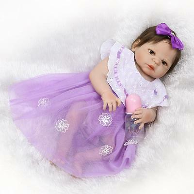 Reborn Baby Girl Doll Full Body Vinyl Silicone 22''Hand Rooted Fiber Hair Purple