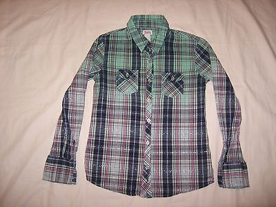 Justice Girl's Blue Pink Purple Plaid Button Up Long Sleeve Shirt Size 8