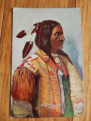 Vintage 1910 AMERICAN Sioux Indian CHIEF HOLLOW HORN BEAR Portrait Postcard