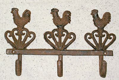 NEW~Farmhouse Rooster Cast Iron Triple Wall Hook Bar Chicken Country