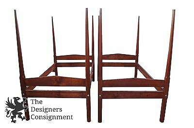 2 Antique Early American Style Pine Twin Size 4 Four Poster Bed Frames Pair