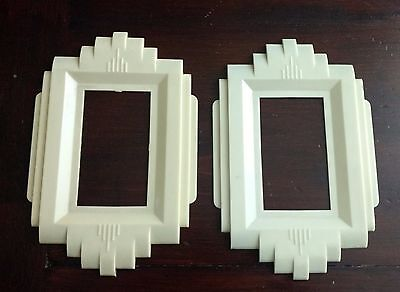 Gits Moulding Vintage Art Deco Light Switch Cover Plates(2)-Ivory-Lucite-Nice!
