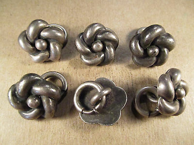 Set of 6 Antique Sterling Silver Coat Buttons w/ Clasps, 27.4g