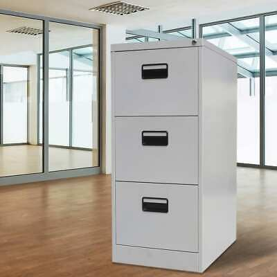 vidaXL File Cabinet Steel 3 Drawers Locker Storage Office School Grey Metal