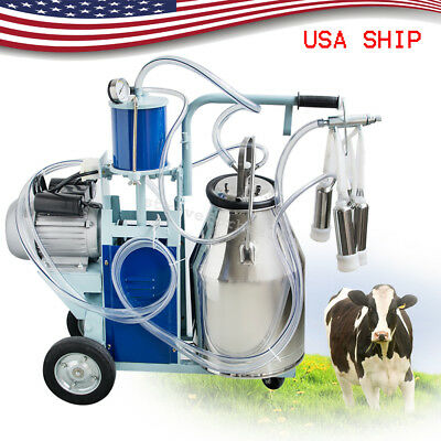 25L Electric Milking Machine For Cows Stainless Steel Bucket 12Cows/hour Milker