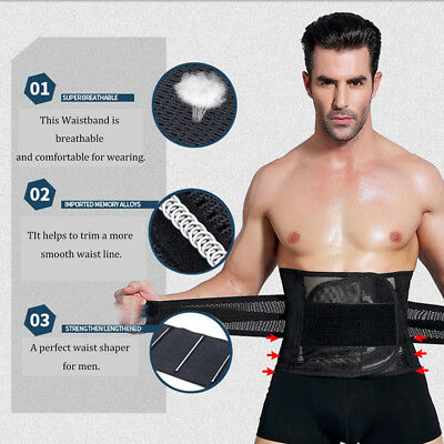 Mens Gents Slimming Trimmer Waistband Body Shaper Belly Trainer Sweat Belt