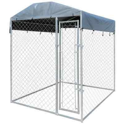vidaXL Steel Dog Cage Kennel House Crate Roofing Fence Pet Enclosure 2x2 m