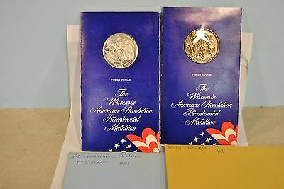 1974 Sterling Silver Lincoln Mint Bicentennial Medal - Wisconsin