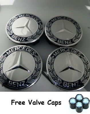Fit For Mercedes-Benz 4 x 75mm Wheel Centre Caps chrome and dark Blue amg