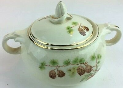Taylor Smith &Taylor, Pinecone and tassel Sugar Bowl With Cracked Lid