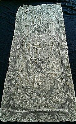 Rare & Exquisite 1800s 19thC Antique French Normandy Lace Runner Fabric 40x17