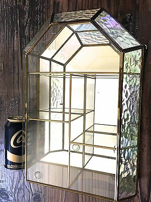 Vintage Iridescent Brass & Glass Display Case Curio Cabinet, Cathedral Top