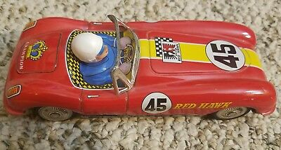vintage 1960s red hawk 45 japan litho tin friction toy race car