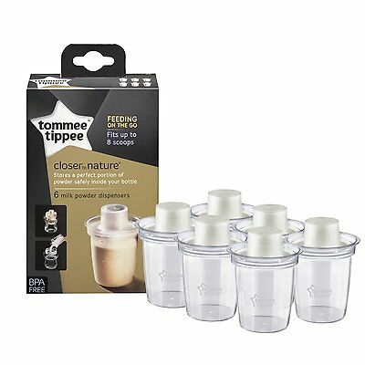 Tommee Tippee Closer to Nature Milk Powder Formula Dispensers Pots Pack of 6 NEW