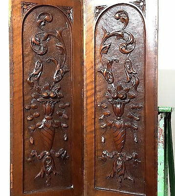 Carved Wood Panel Matched Pair Antique French Bow Fruit Bowl Salvaged Carving