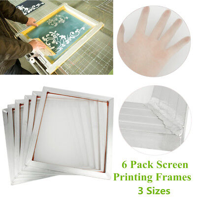 6 Pack Aluminum Silk Screen Printing Press Print Frame With 110 White Mesh Count