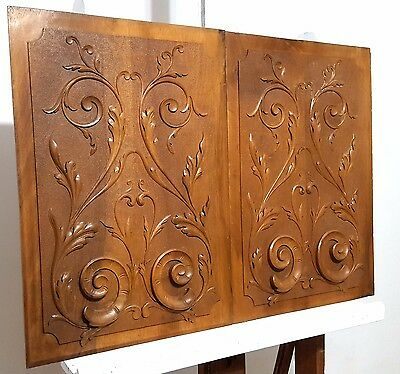 HAND CARVED WOOD PANEL MATCHED PAIR ANTIQUE FRENCH VOLUTE SALVAGED CARVING 19th