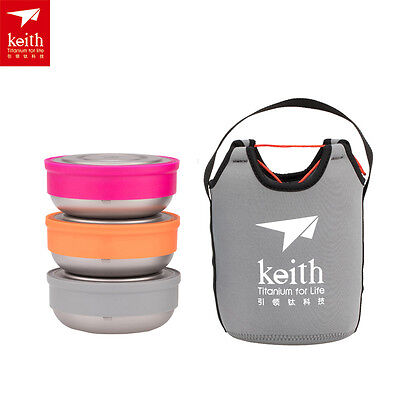 Keith 3pcs/set Titanium Bowls with Lid Bento Lunch Boxes with Package Pouch