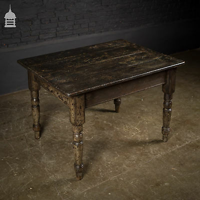 Victorian Pine Kitchen Table with Dark Scumble Finish and Later Top