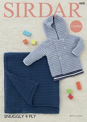 Sirdar 4808 Crochet Pattern Baby Boys Jacket and Blanket in Sirdar Snuggly 4 Ply