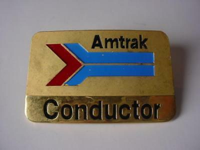 Vintage 1970's Amtrak Train CONDUCTOR BRASS Metal Hat Badge