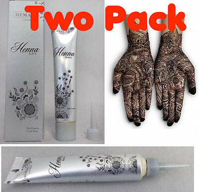 2 x Hemani Black Henna Paste Tube / Cones Mehndi Mehendi Mendi Temporary Tattoo