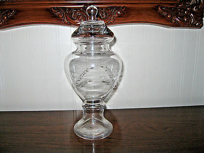 Glass  Apothecary Jar Buffet Bridal Display Candy Dish Decorative etchings