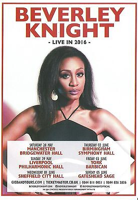 BEVERLEY KNIGHT 2016 Tour UK FLYER / mini Poster 8x6 inches