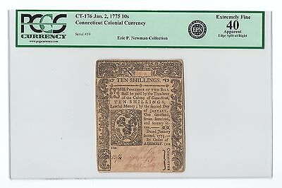 1775 Connecticut Colonial Note Ten Shillings 10s EX: NEWMAN ~ PCGS EF40 XF 40