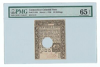 1780 Connecticut Colonial Note Ten Shillings 10s PMG GEM UNC 65 EPQ Great Color