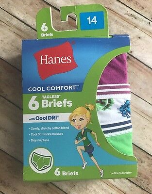 NEW Hanes Girls 6 Pack Underwear Size 14 Tagless Bikini Cool Comfort Panties