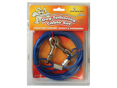 Dog Tethering Cable Set  Outdoor Safety + Tie Out Stake Option + Multi Deals