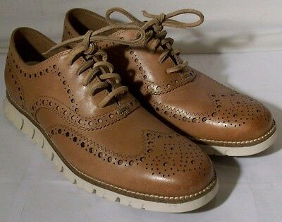 Cole Haan Mens Zerogrand Wingtip Oxford (C23341) Tan Leather 7 Med $270
