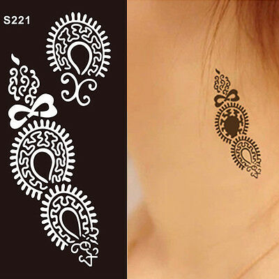New Lace Transfer Black henna Hand Arm Tattoo Stencil Henna Art Temporary Tattoo