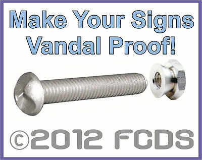Vandal Proof Sign Hardware Set One Way Bolt and Break Away Nut Protect Your Sign