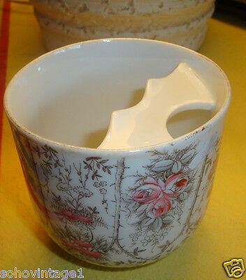 Antique Mustache Cup~Roses Design~Offered As Is Crack In Cup Handle