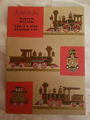 Vintage Get Well Greeting Card Train Locomotives
