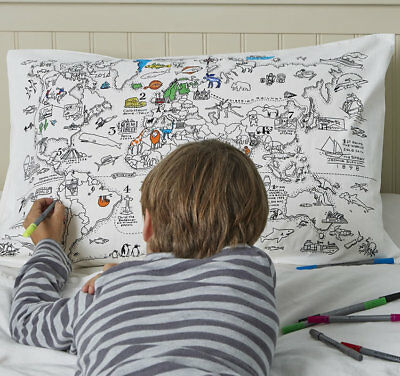 Doodle World Map Pillowcase 100% Cotton Colouring In with Wash Out Pens