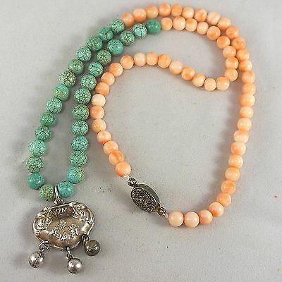 """Vintage Chinese Angel Skin Coral Turquoise Bead Silver Lock Pendant Necklace 21"""""""