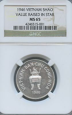 1946 Vietnam 5 Hao Value Raised 5,  Km#2.2 Aluminum Coin, Graded By Ngc As Ms 65