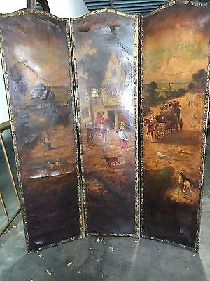 Leather Painted 3 Panel Screen Room Divider Antique Painting Horses Ye Ole Head